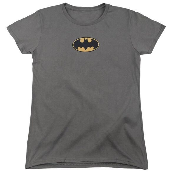 Batman Batman Plush Emblem Short Sleeve Women's Tee Charcoal T-Shirt