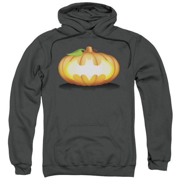 Batman Bat Pumpkin Logo Adult Pull Over Hoodie
