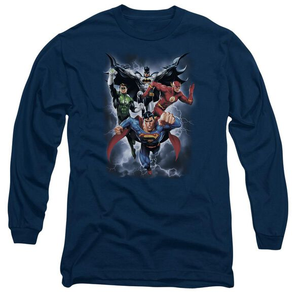 Jla The Coming Storm Long Sleeve Adult T-Shirt