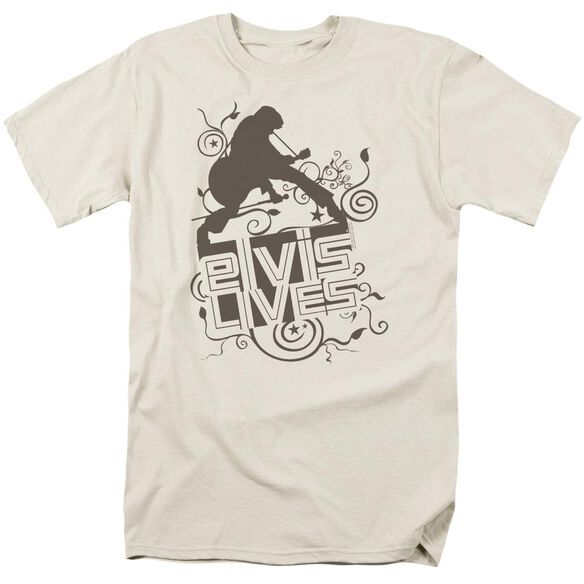 Elvis Elvis Lives Short Sleeve Adult Cream T-Shirt