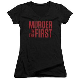 Murder In The Frist Stacked Logo Junior V Neck T-Shirt