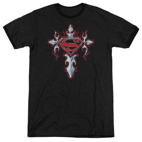 Superman Gothic Steel Logo Adult Heather Ringer