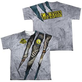 Jurassic Park Live Raptor (Front Back Print) Short Sleeve Youth Poly Crew T-Shirt