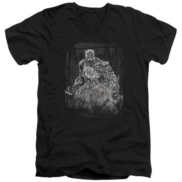 Batman Pencilled Rain Short Sleeve Adult V Neck T-Shirt