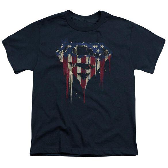 Superman Bleeding Shield Short Sleeve Youth T-Shirt