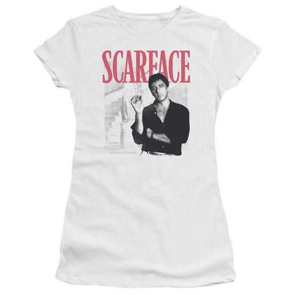 Scarface Stairway Short Sleeve Junior Sheer T-Shirt