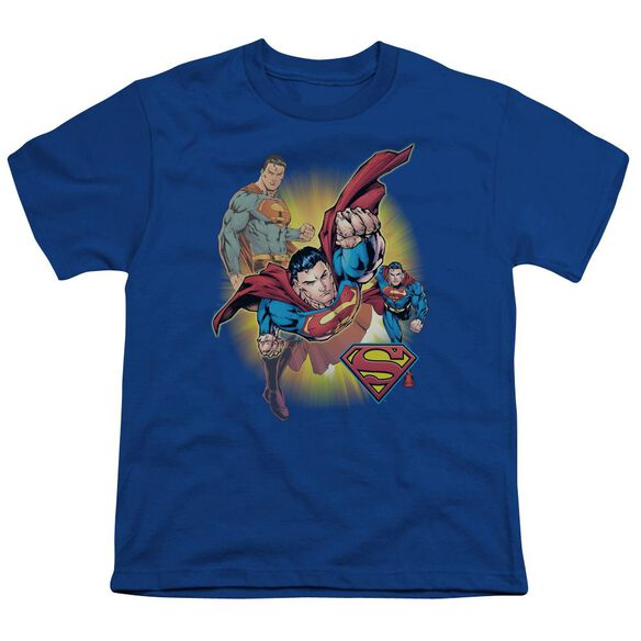 Jla Superman Collage Short Sleeve Youth Royal T-Shirt