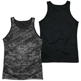 Superman Submit Adult Poly Tank Top Black Back