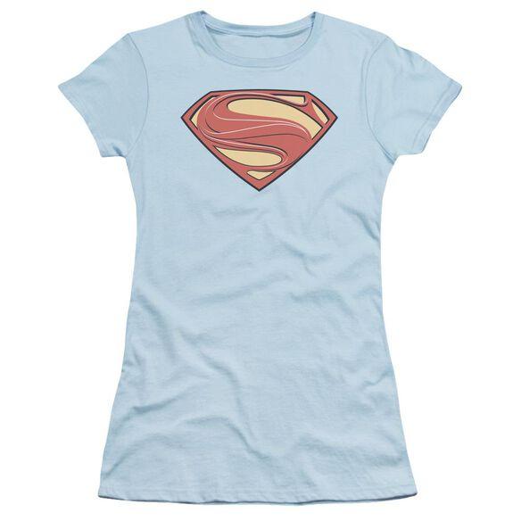 Man Of Steel New Solid Shield Short Sleeve Junior Sheer Light T-Shirt