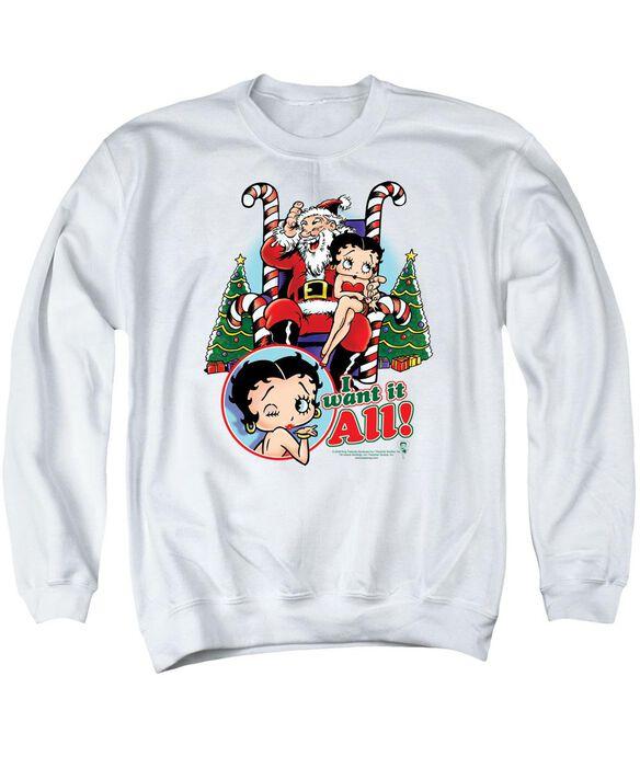 Betty Boop I Want It All Adult Crewneck Sweatshirt