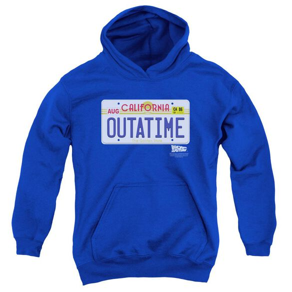 Back To The Future Outatime Plate Youth Pull Over Hoodie Royal Royal