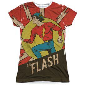 Dc Vintage Comic Flash Short Sleeve Junior Poly Crew T-Shirt