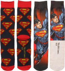 Superman Dye and Knit 2 Pack Crew Socks Set
