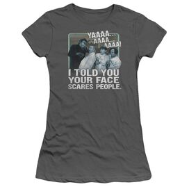 Three Stooges Scares People Short Sleeve Junior Sheer T-Shirt
