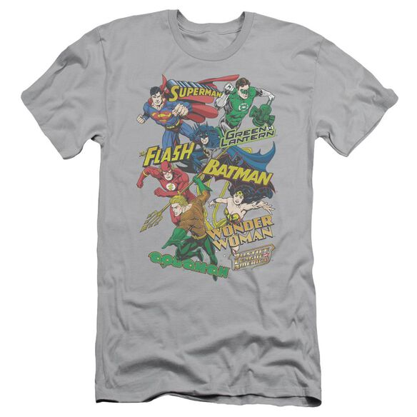 Jla Justice Collage Short Sleeve Adult T-Shirt