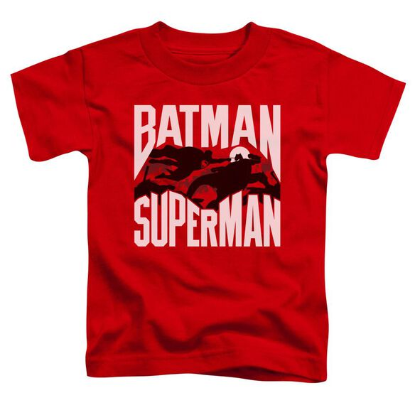 Batman Vs Superman Silhouette Fight Short Sleeve Toddler Tee Red T-Shirt