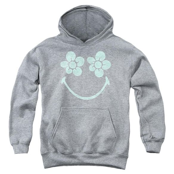 Smiley World Flower Face Youth Pull Over Hoodie Athletic