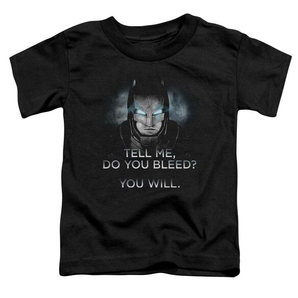 Batman V Superman Do You Bleed Short Sleeve Toddler Tee Black T-Shirt