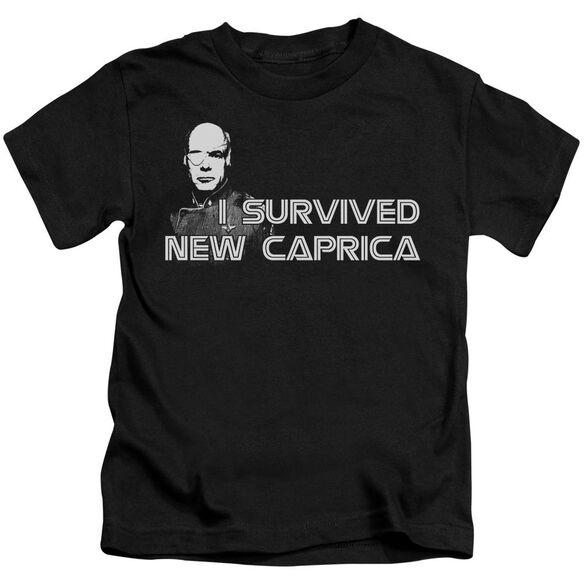 Bsg I Survived New Caprica Short Sleeve Juvenile Black T-Shirt