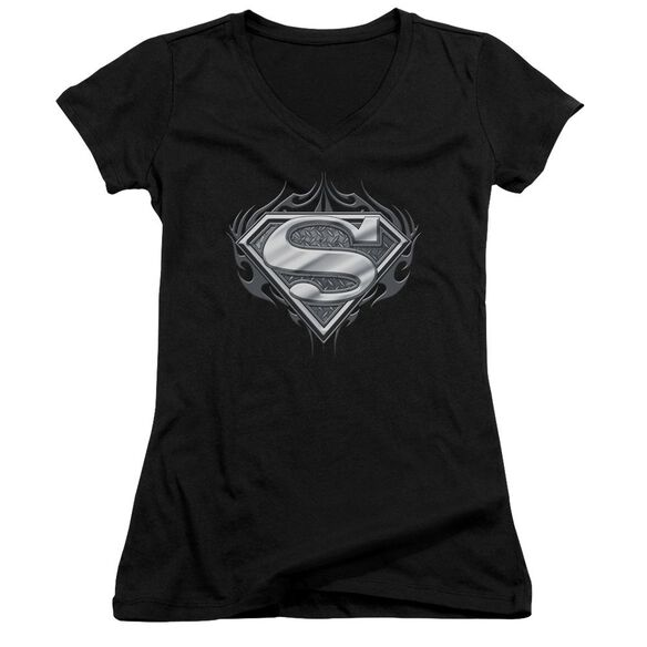 Superman Biker Metal Junior V Neck T-Shirt