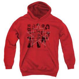 Jla Five Stars-youth Pull-over Hoodie - Red