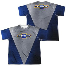 Chevrolet Shiny Chevy Logo (Front Back Print) Short Sleeve Youth Poly Crew T-Shirt