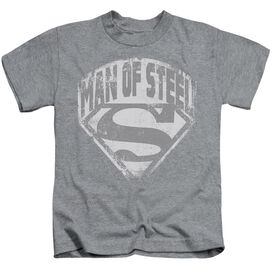 Superman Man Of Steel Shield Short Sleeve Juvenile Athletic Heather Md T-Shirt