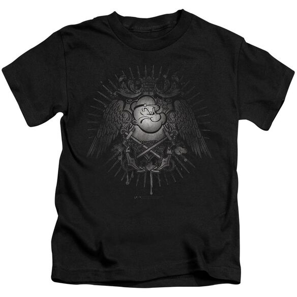 Popeye Sailor Heraldry Short Sleeve Juvenile Black T-Shirt
