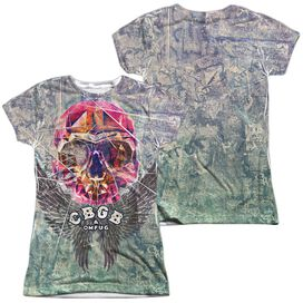 Cbgb Graffiti Skull (Front Back Print) Short Sleeve Junior Poly Crew T-Shirt