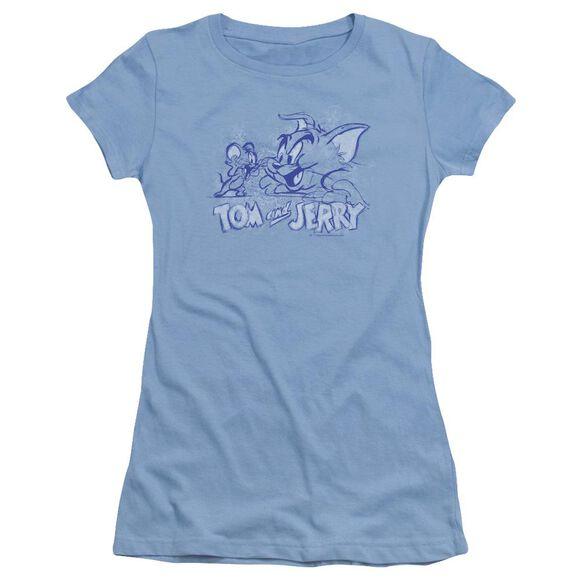 Tom And Jerry Sketchy Short Sleeve Junior Sheer Carolina T-Shirt