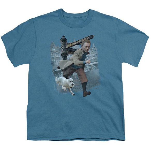 Tintin Labrador Street Short Sleeve Youth T-Shirt