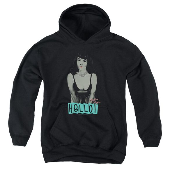 Bettie Page Hello Youth Pull Over Hoodie