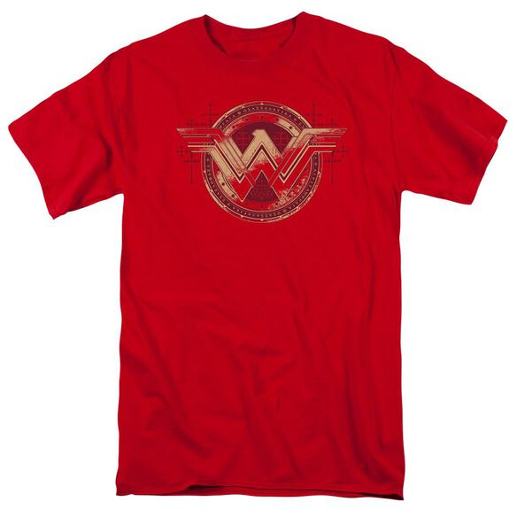 Batman V Superman Wonder Shield Short Sleeve Adult Red T-Shirt