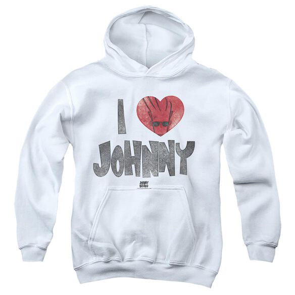 Johnny Bravo I Heart Johnny-youth Pull-over Hoodie - White