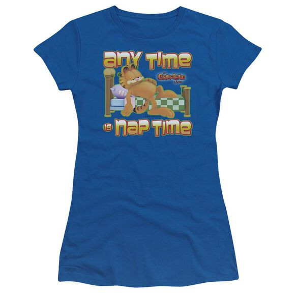 Garfield Nap Time Short Sleeve Junior Sheer Royal T-Shirt