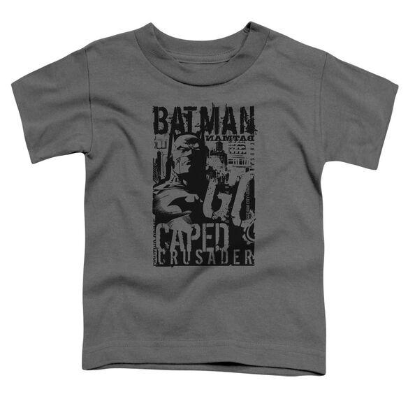 Batman Caped Crusader Short Sleeve Toddler Tee Charcoal T-Shirt