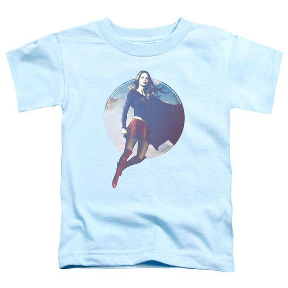 Supergirl Cloudy Circle Short Sleeve Toddler Tee Light Blue T-Shirt