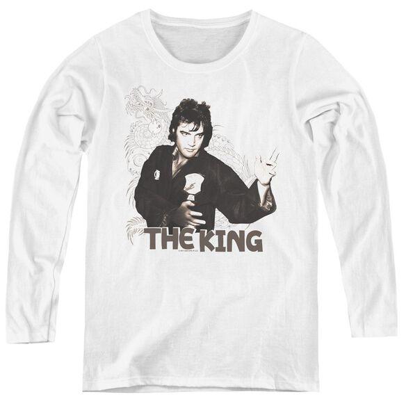 Elvis Presley Fighting King - Womens Long Sleeve Tee - White