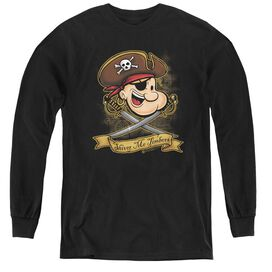 Popeye Shiver Me Timbers - Youth Long Sleeve Tee - Black