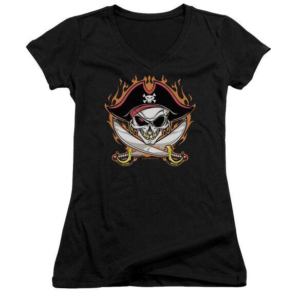 Pirate Skull Junior V Neck T-Shirt