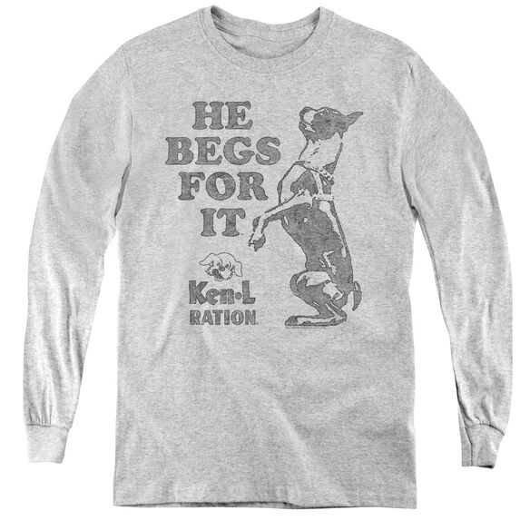 Ken L Ration Begs - Youth Long Sleeve Tee - Athletic Heather