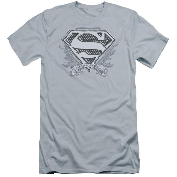 Superman Sketchy Crest Shield Premuim Canvas Adult Slim Fit Light
