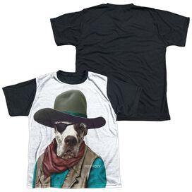 Pets Rock Cowboy Short Sleeve Youth Front Black Back T-Shirt