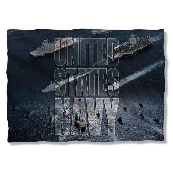 Navy Fleet Pillow Case White
