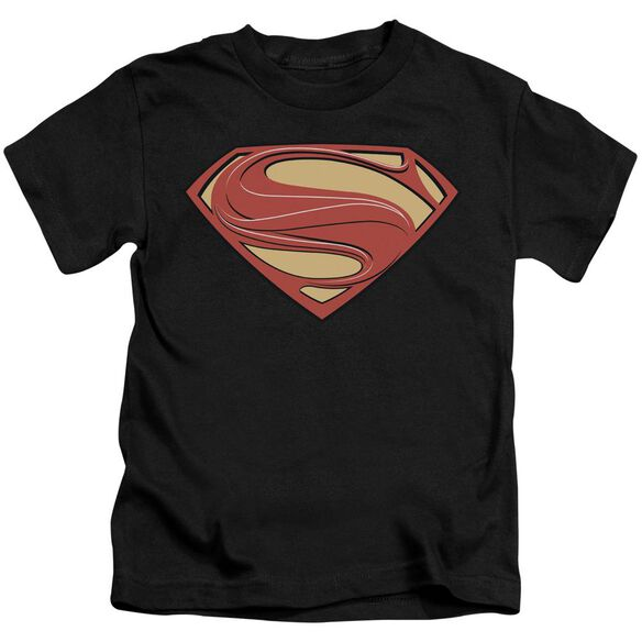 Man Of Steel New Solid Shield Short Sleeve Juvenile Black T-Shirt