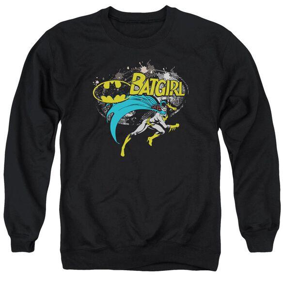 Batman Batgirl Halftone - Adult Crewneck Sweatshirt - Black