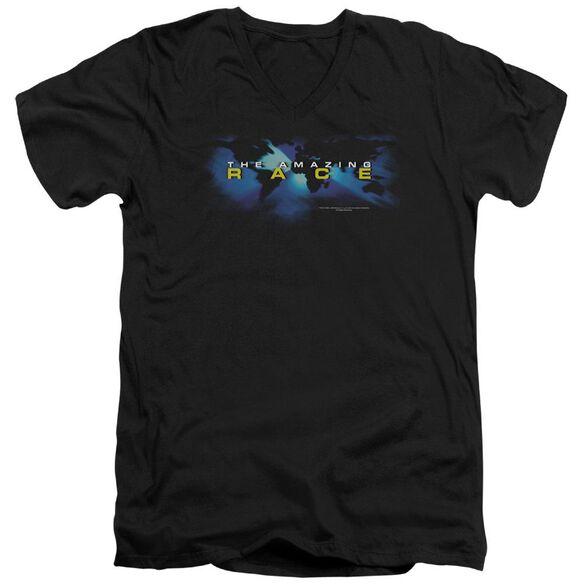 Amazing Race Faded Globe Short Sleeve Adult V Neck T-Shirt