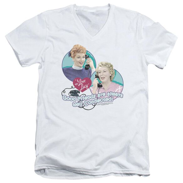 I Love Lucy Always Connected Short Sleeve Adult V Neck T-Shirt