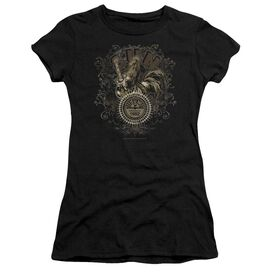 Sun Scroll Around Rooster Short Sleeve Junior Sheer T-Shirt