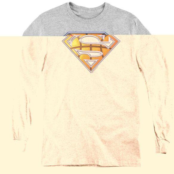 Superman Basketball Shield - Youth Long Sleeve Tee - Athletic Heather